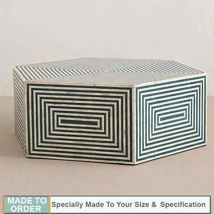 Valentina+Bone+Inlay+Coffee+Table+Hexagonal+Stripe+Design+Turquoise