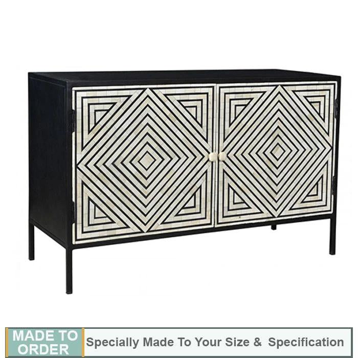 Vivian+Geometric+Stripe+Design+Bone+Inlay+Sideboard+Cabinet