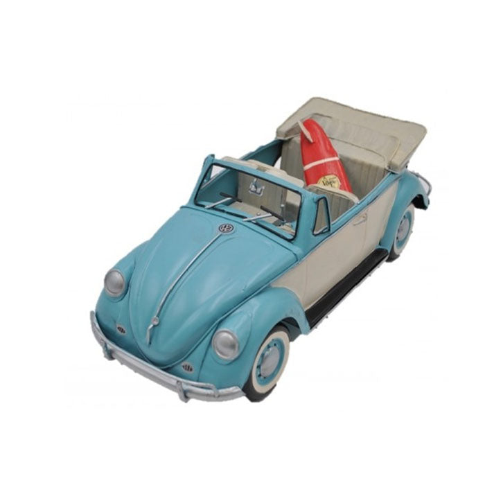 Volkswagen (VW) Beetle with Surfboard - Blue 34cm - Notbrand