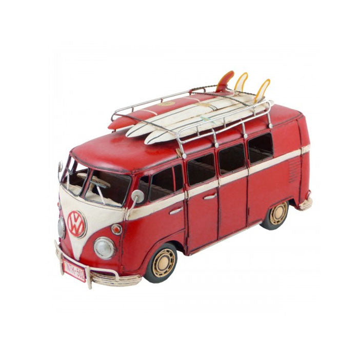 Volkswagen Kombi Van with 3 Surfboards Ornament - Red - Notbrand