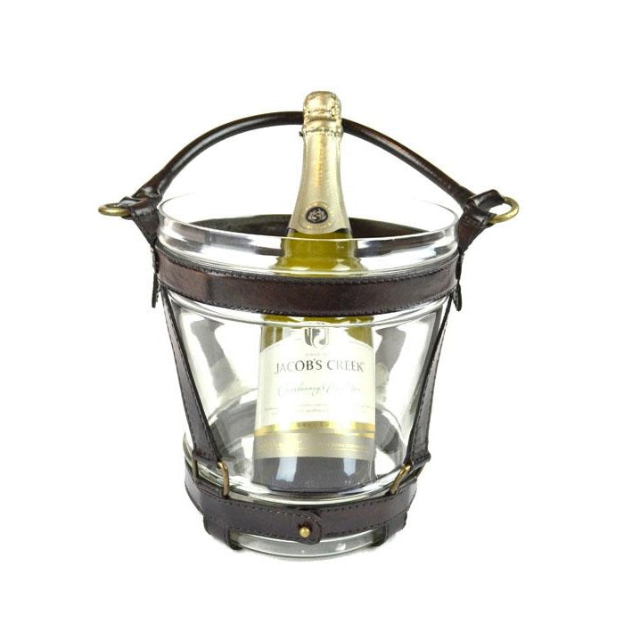 Glass Wine Bucket with Dark Leather Handle - Notbrand
