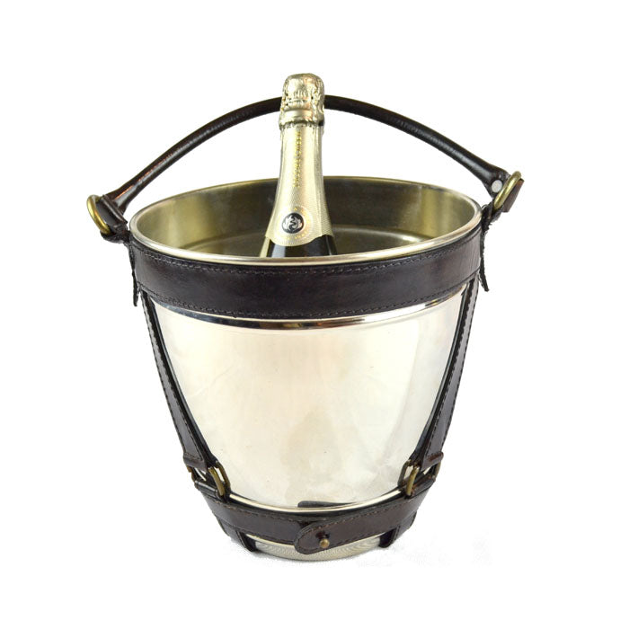 Metal Wine Chiller Bucket with Dark Leather Handle - Notbrand