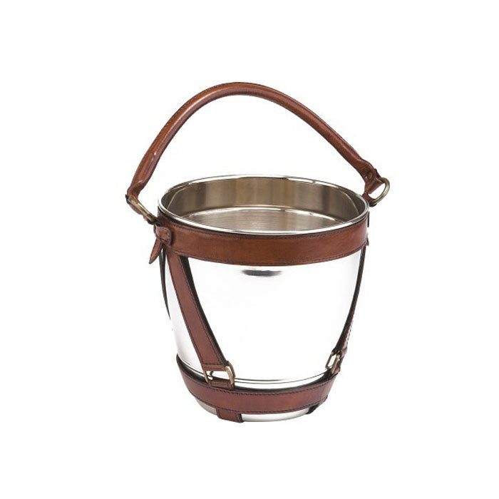Metal Wine Chiller Bucket with Tan Leather Handle - Notbrand