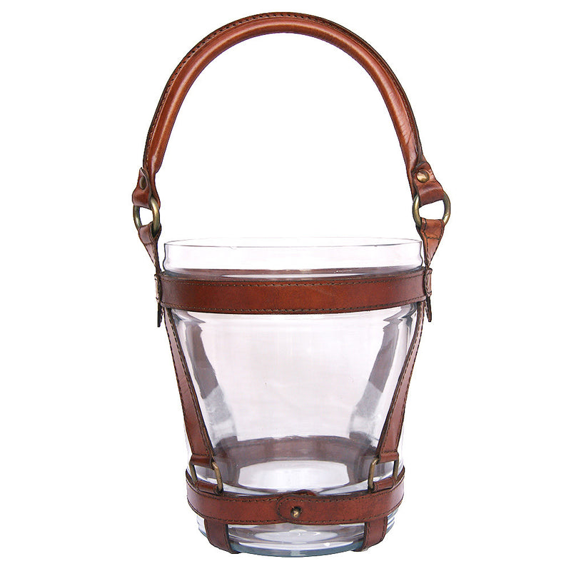 Glass Wine Bucket with Tan Leather Handle - Notbrand