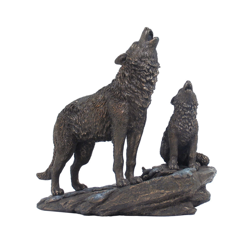 Wolf - Parent & Cub Bronze Figurine