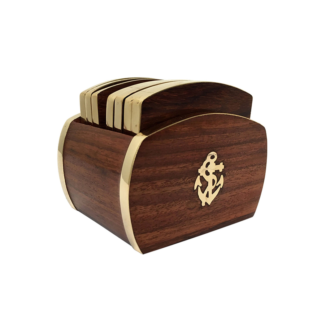 Wood & Brass Anchor Drinks Coasters with Holder - Notbrand