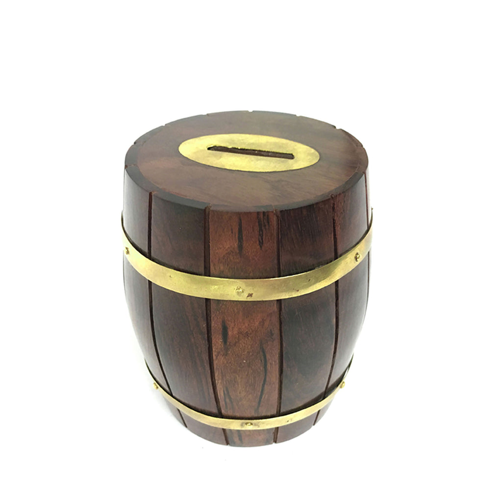 Wood & Brass Barrel Money Box - 120mm - Notbrand