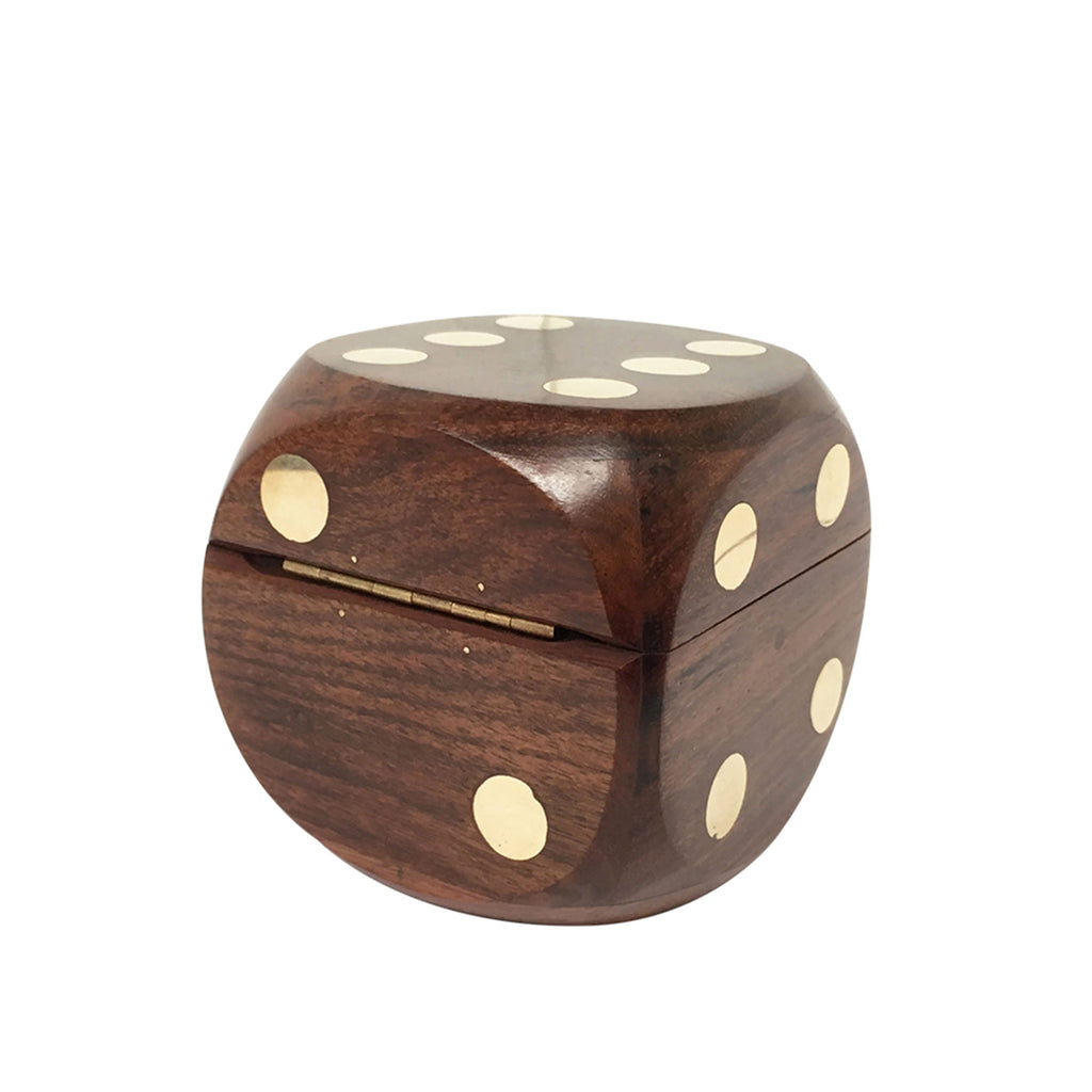 Wood & Brass Dice with Box Set - 80mm - Notbrand