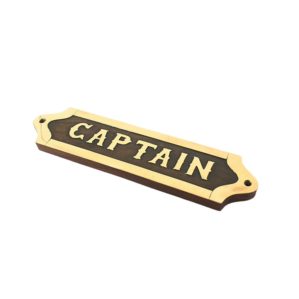 Wood & Brass Plaque - Captain - Notbrand
