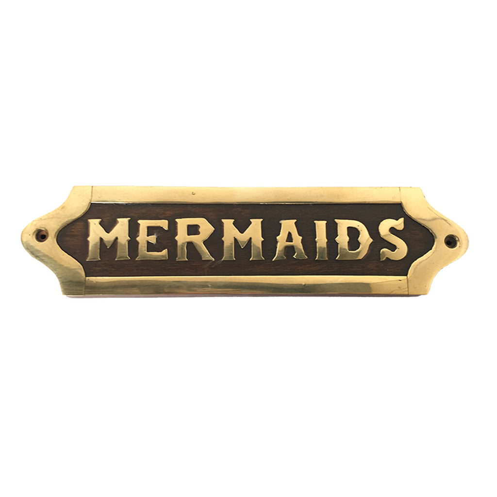 Wood & Brass Plaque - Mermaids - Notbrand