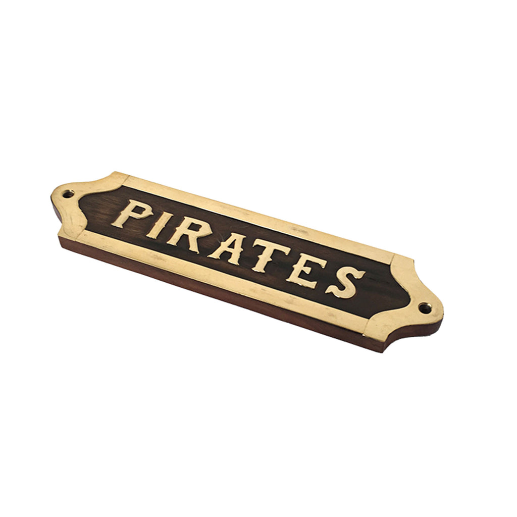 Wood & Brass Plaque - Pirates - Notbrand