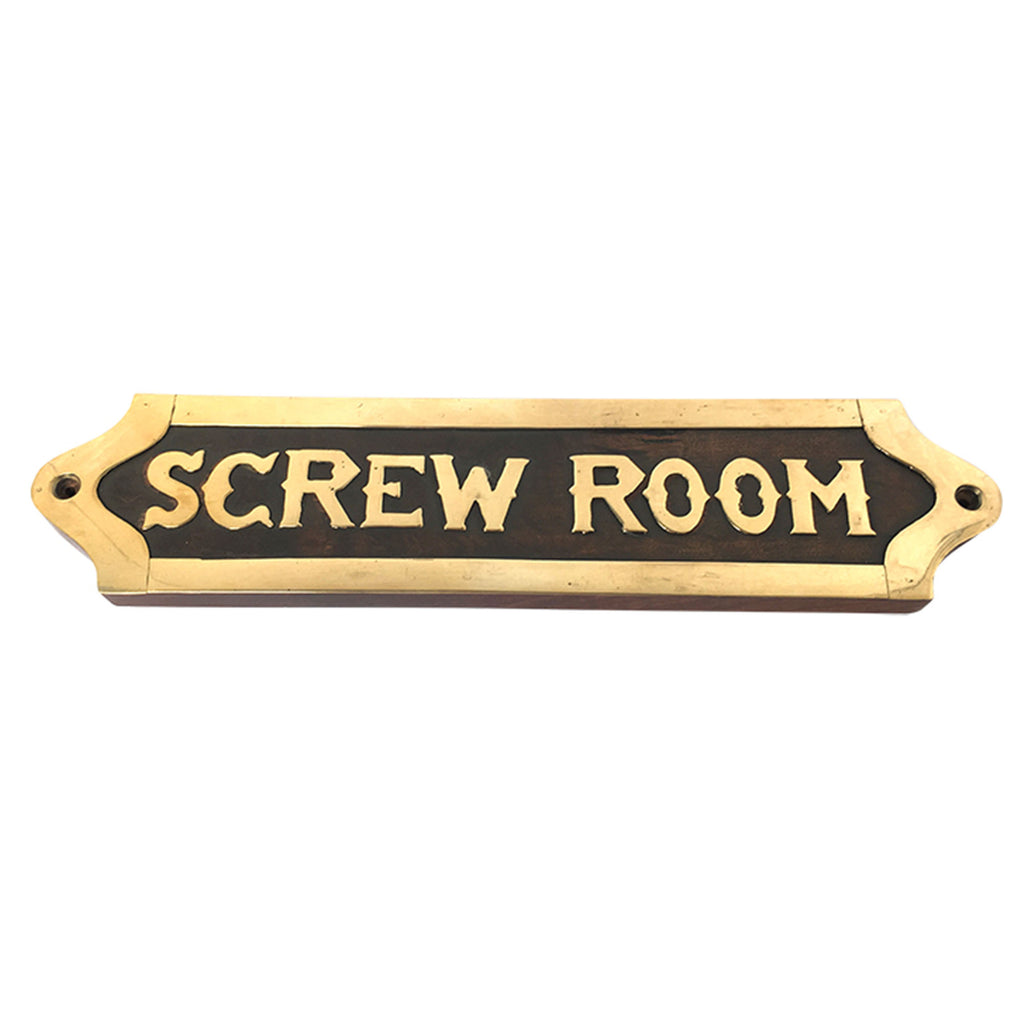 Wood & Brass Plaque - Screw Room - Notbrand