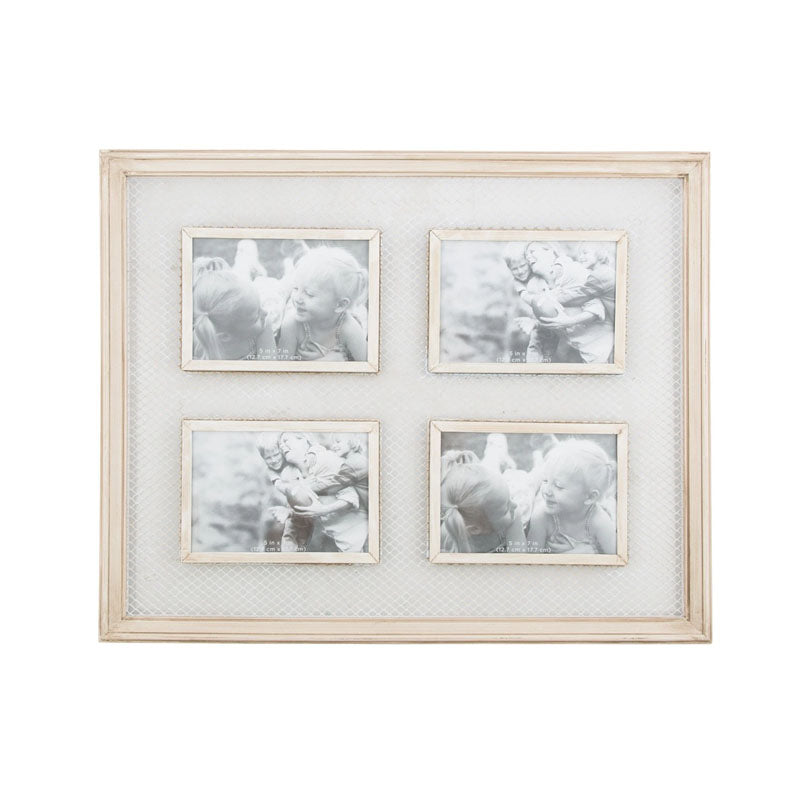 4 Photo Wooden Wall Frame With Wire Detail - White - Notbrand