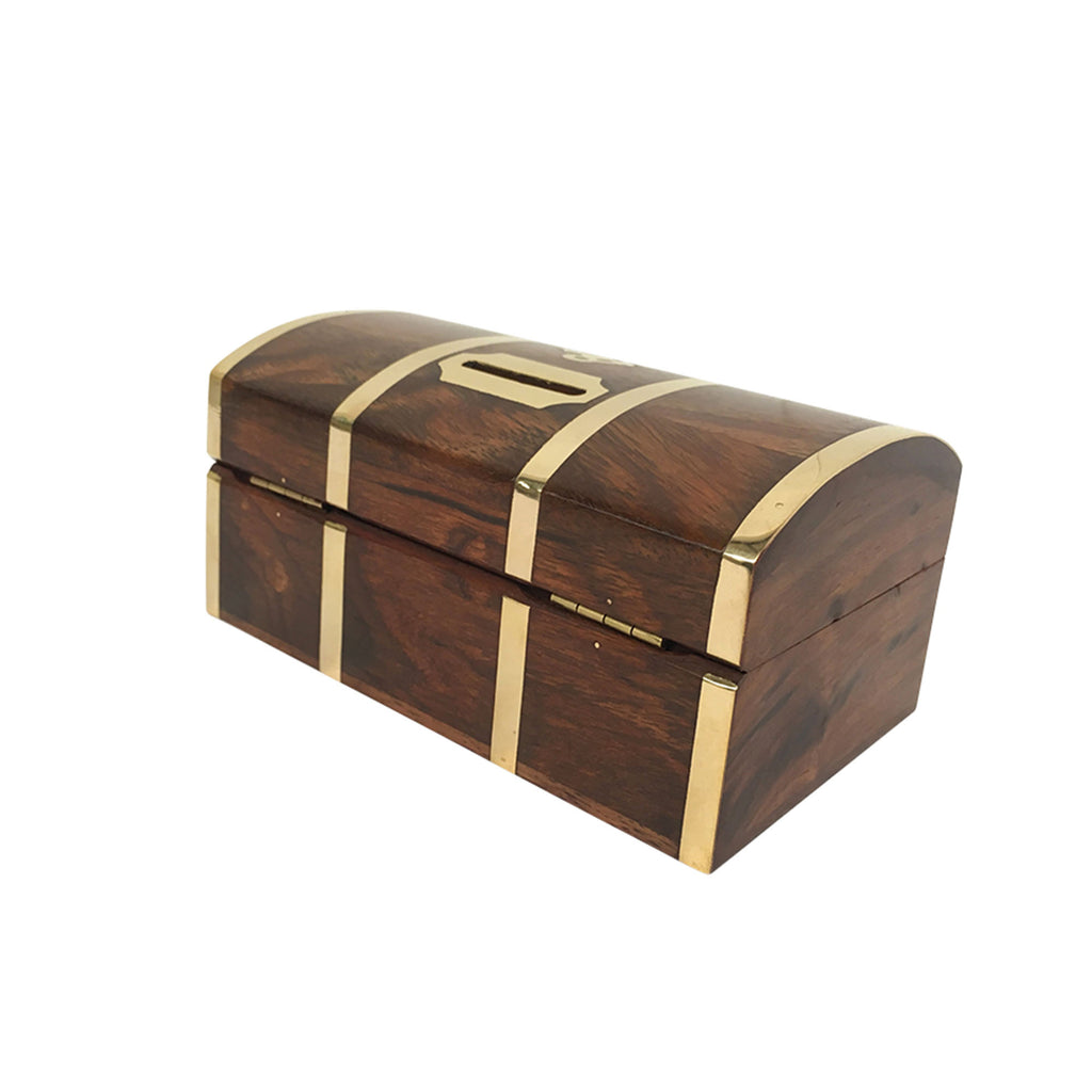 Wooden Money Box Treasure Chest & Padlock - Notbrand