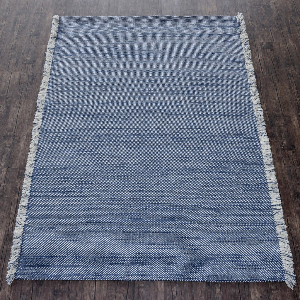 Blue Wool Handloom Fringed Rug
