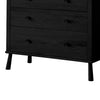 Pedro 5 Drawer Chest Black Solid Oak - Notbrand