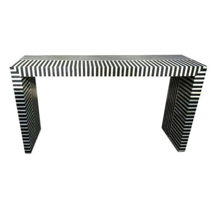 Logan Zebra Design Bone Inlay Console Table Black - Notbrand