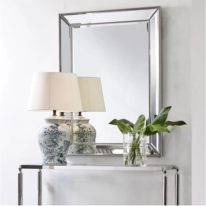 Zeta Wall Mirror - Large Antique Silver
