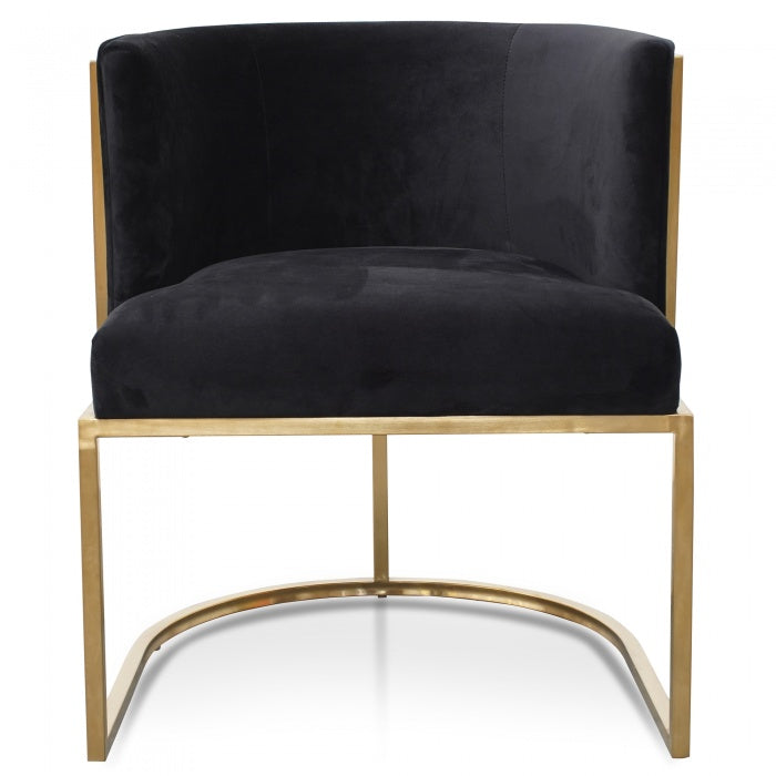 Deluxe Lounge Chair In Black Velvet Seat - Brushed Gold - Notbrand