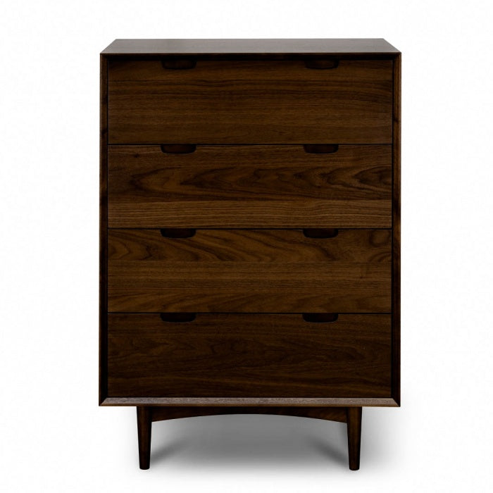 Tressi 4 Drawer Chest Scandinavian Design - Walnut - Notbrand