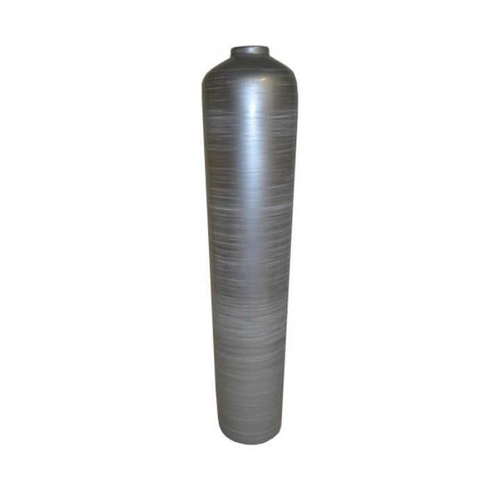 Tall Cylindrical Narrow Neck Lacquer Vase - Silver Grey - Notbrand