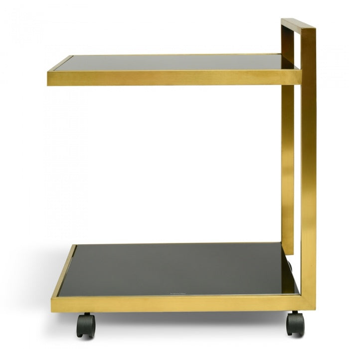 Florence Bar Cart Trolley - Gold Base Tempered Glass - Notbrand