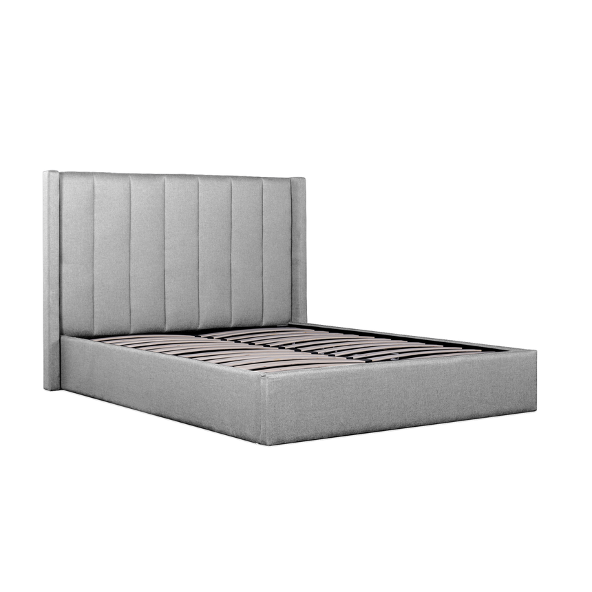 Todday Grey Fabric Queen Bed Frame with Storage - Notbrand