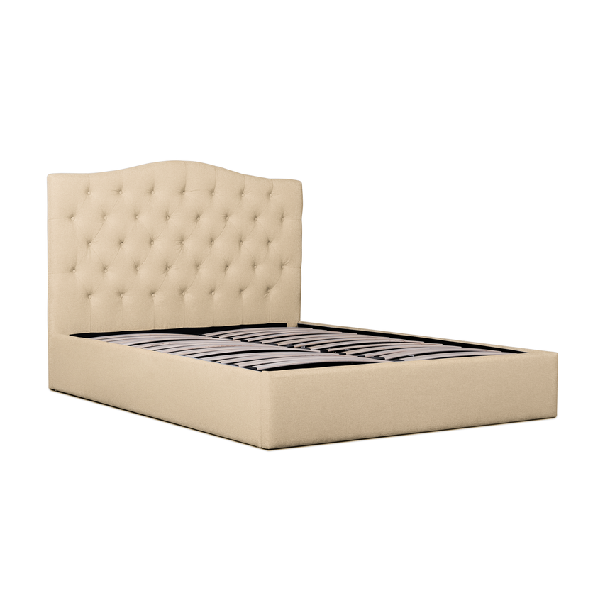 Eventide Fabric Queen Bed Frame - Beige - Notbrand