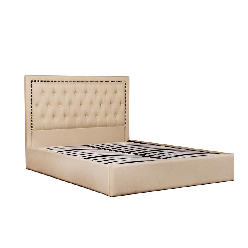 Finnigan King Bed with Tufted Headboard - Beige - Notbrand