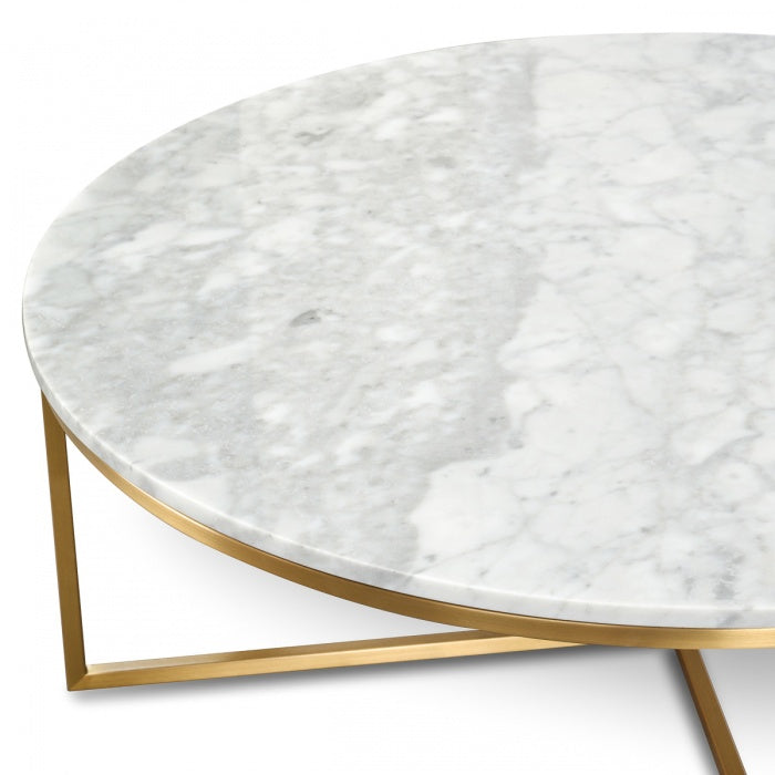 Florence Round Italian Marble Top Coffee Table - Notbrand