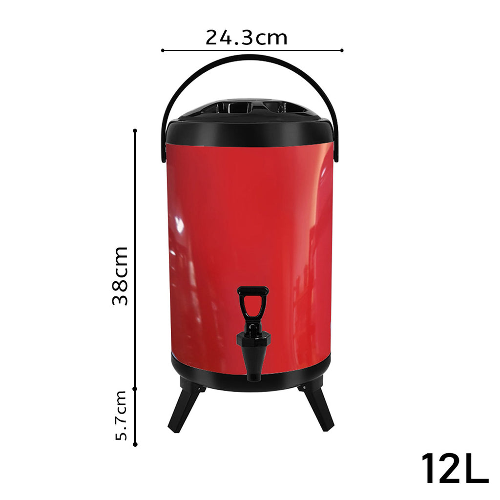 Red Stainless Steel Milk Tea Beverage Barrel - 12L - Notbrand