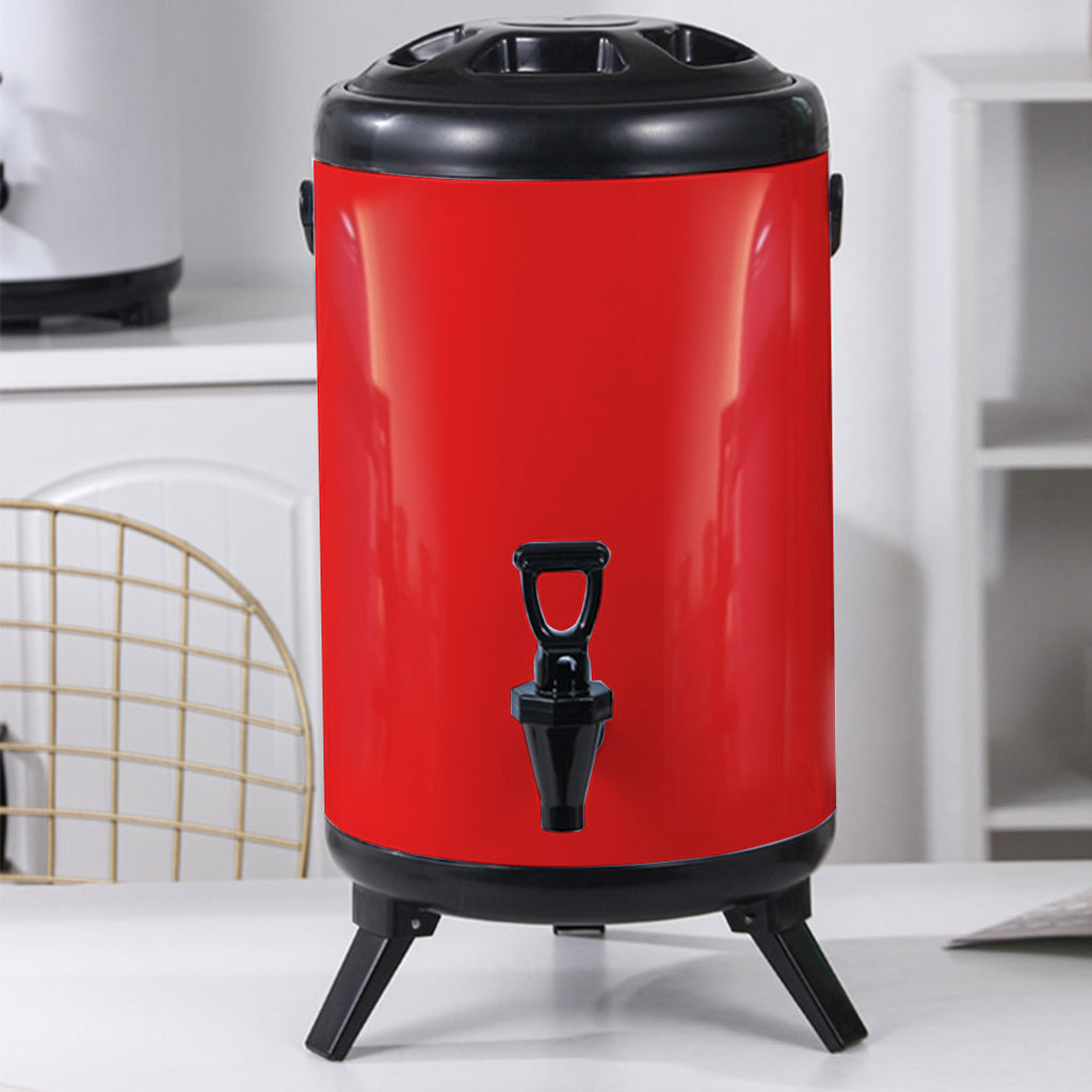 Red Stainless Steel Milk Tea Barrel With Faucet - 14L - Notbrand