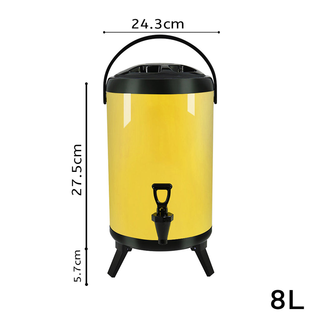 Yellow Stainless Steel Milk Tea Barrel With Faucet - 8L - Notbrand