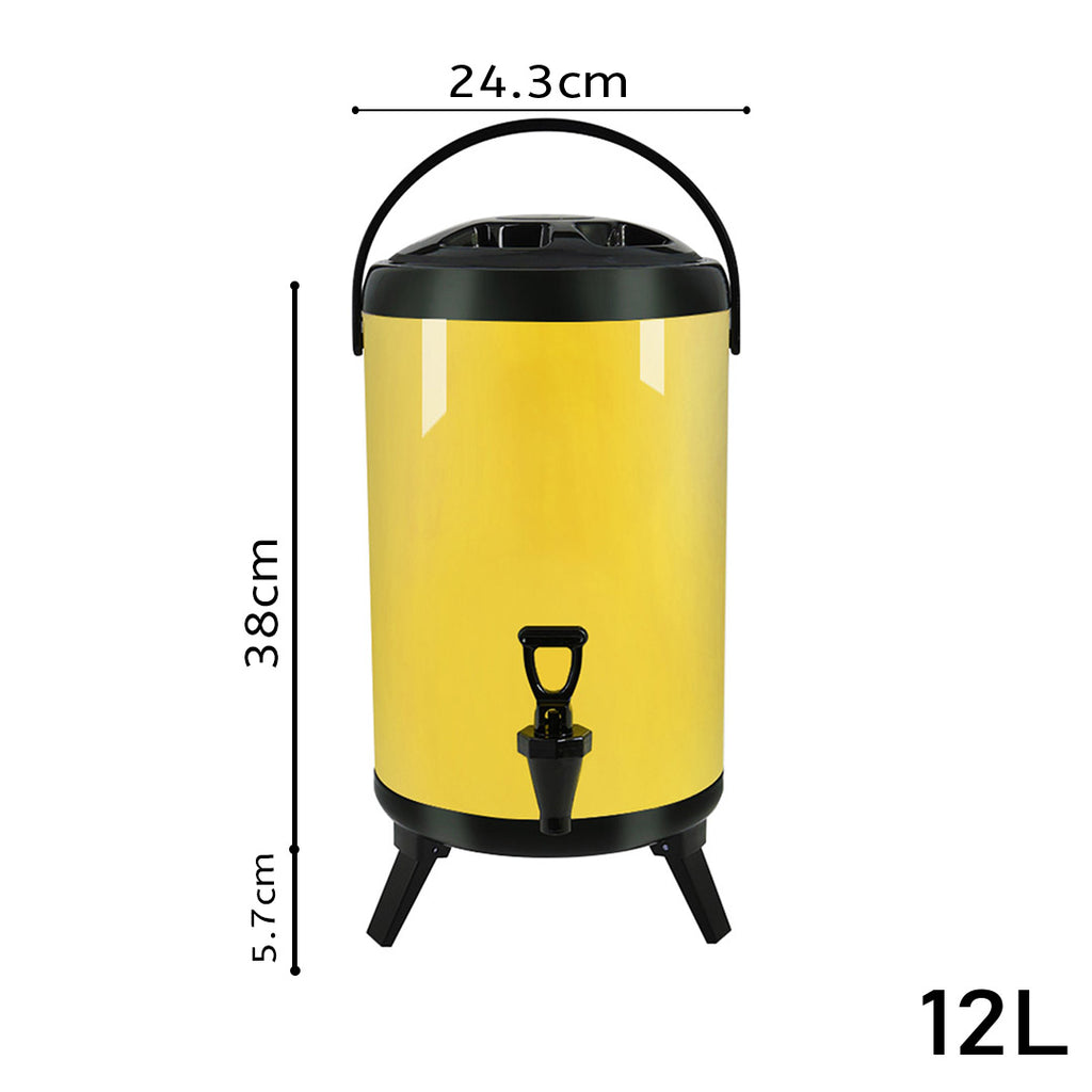 Yellow Stainless Steel Milk Tea Barrel With Faucet - 12L - Notbrand