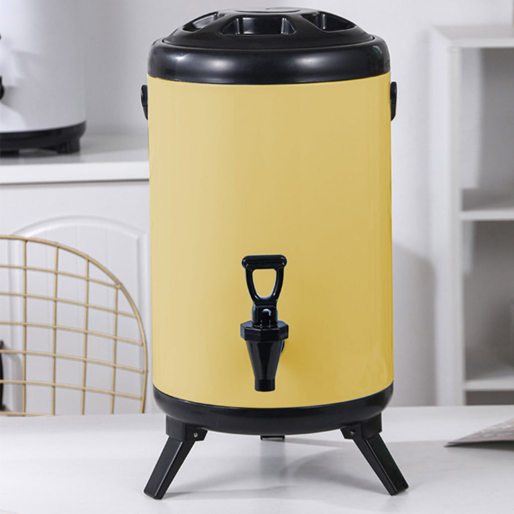 Yellow Stainless Steel Milk Tea Barrel With Faucet -10L - Notbrand