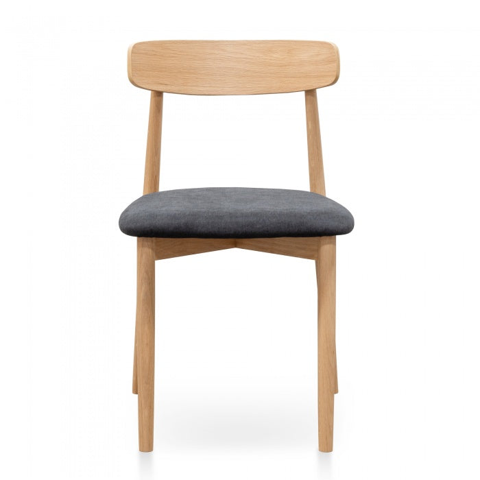 Black Fabric Dining Chair - Natural legs