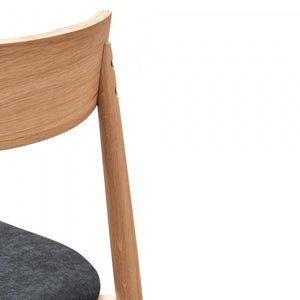 Anne Black Fabric Dining Chair - Natural legs - Notbrand