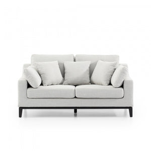 Daniel 2 Seater Fabric Sofa - Light Texture Grey Black Base - Notbrand
