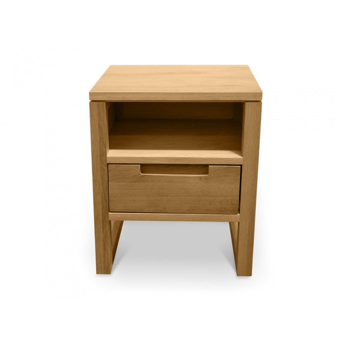 Oslo 1 Drawer Wooden Bedside Table - Natural Oak - Notbrand