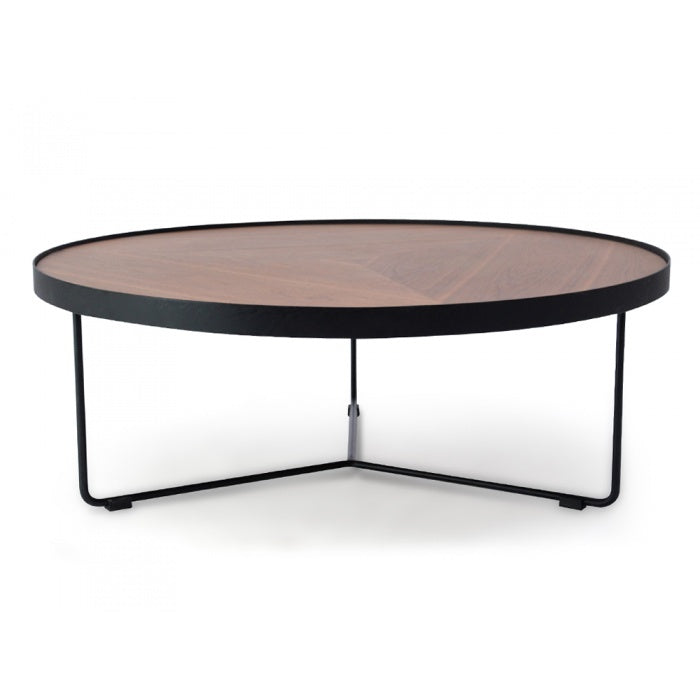 Tokyo Round Coffee Table Walnut Top - Black Frame 90cm - Notbrand