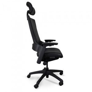 Ergonomic Leather Office Chair With Head Rest - Black - Notbrand