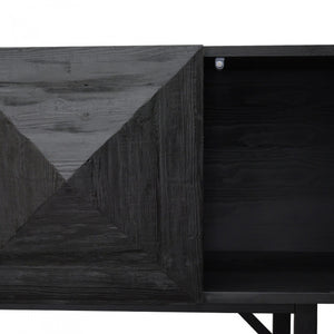 Contemporary Reclaimed Pine Side Cabinet Black - Notbrand