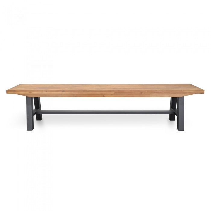 Norman Solid Wood Outdoor Bench - Black Legs - Notbrand