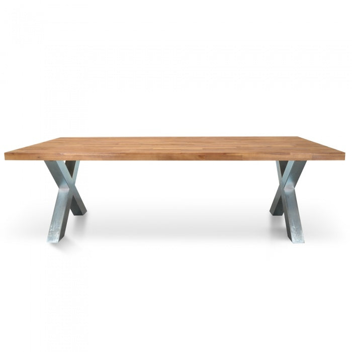 Delvis 2.5m Outdoor Dining Table - Galvanized - Notbrand