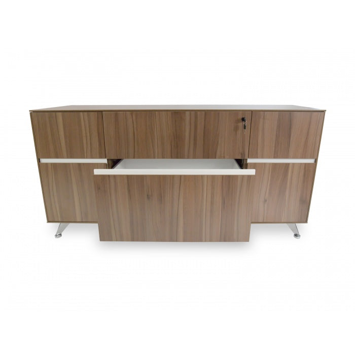 Melamine 2 Drawer Filing Cabinet with Cupboard - Walnut - Notbrand