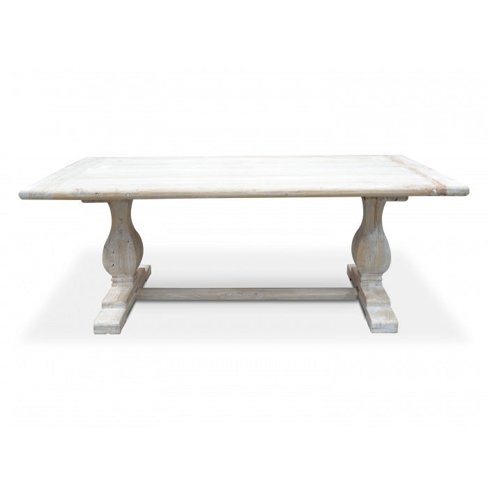 Jade Reclaimed Elm Timber Dining Table - Rustic White Washed 198cm - Notbrand