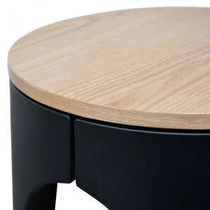 Nora Scandinavian Side Table - Natural - Black - Notbrand