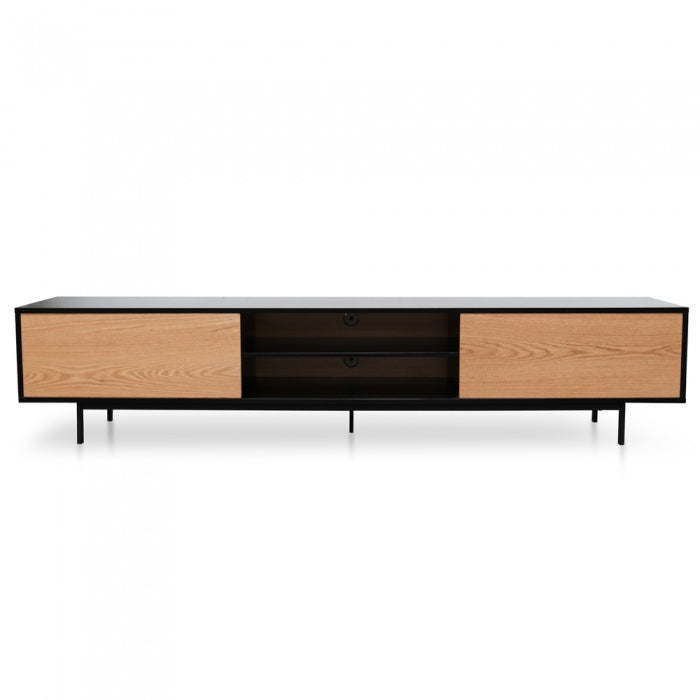 2.3 Entertainment TV Unit - Black Frame - Natural Drawers