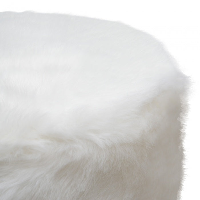 Jessica White Fur Ottoman  / Side Table - Notbrand