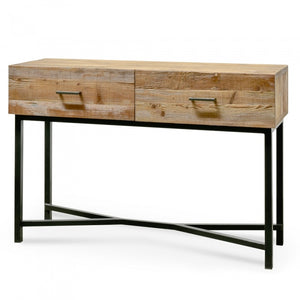 Handmade Reclaimed Pine Console Table - Black base - Notbrand